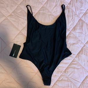 Black, high waisted thong swimsuit. NEVER WORN